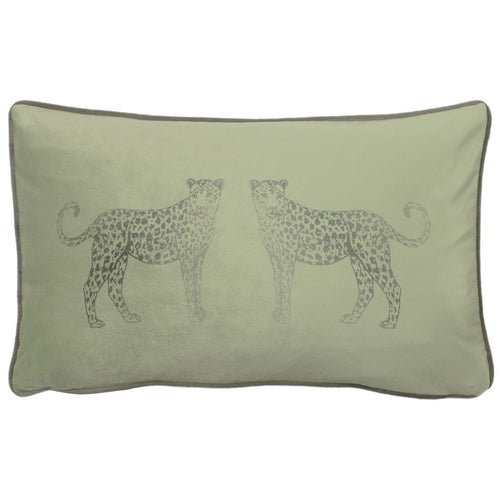 Sage Green Leopard Cushion Soft Furnishing Riva Home