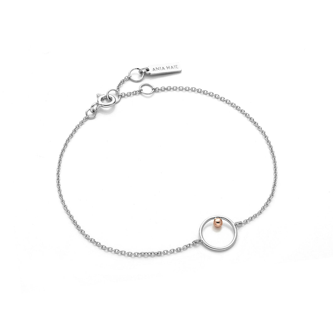 Silver and Rose Gold Circle Bracelet Jewellery Ania Haie