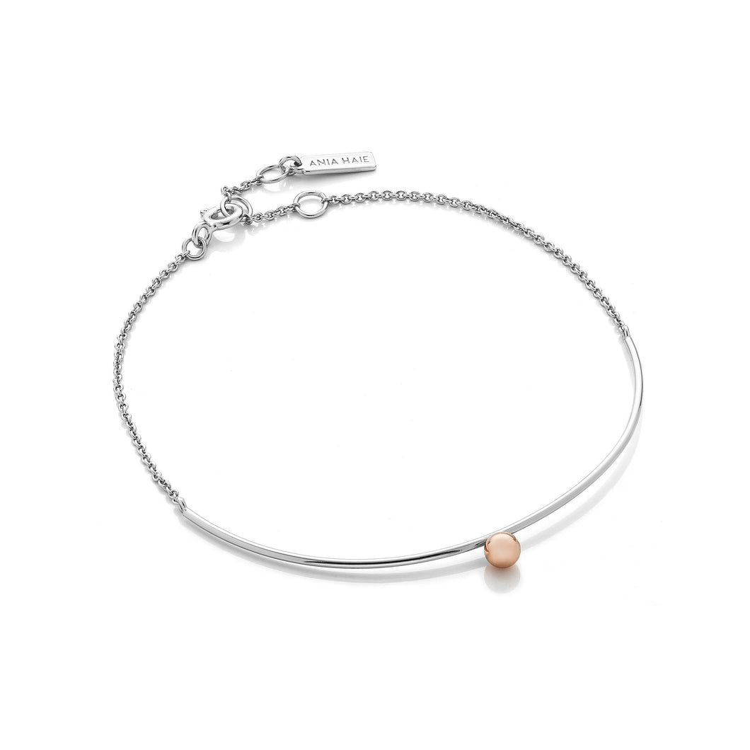 Silver and Rose Gold Solid Bar Bracelet Ania Haie
