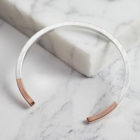 Silver Dipped in Rose Gold Bar Bangle Jewellery Lisa Angel