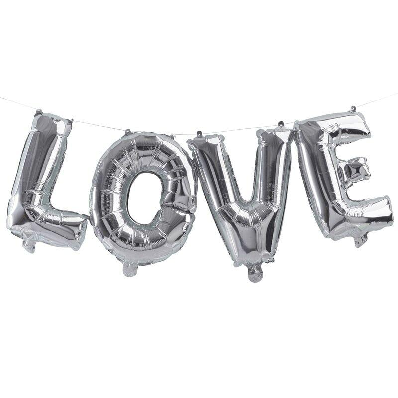 Silver Love Balloon Bunting Party Ginger Ray