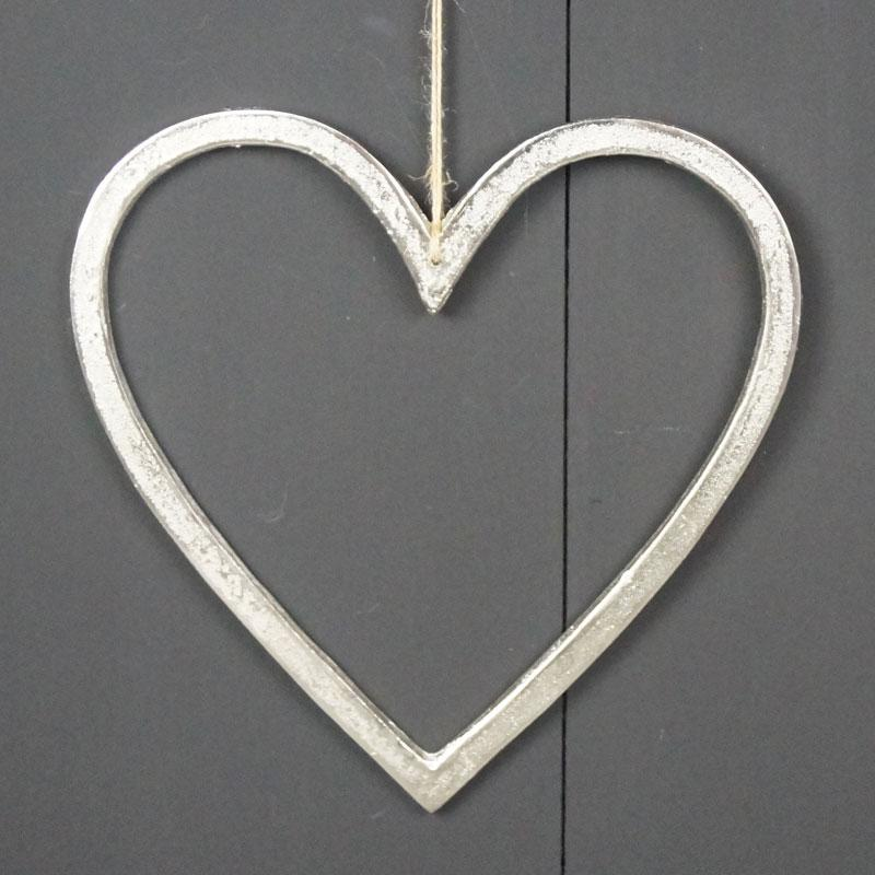 Silver Metal Heart 30cm Homeware Teal