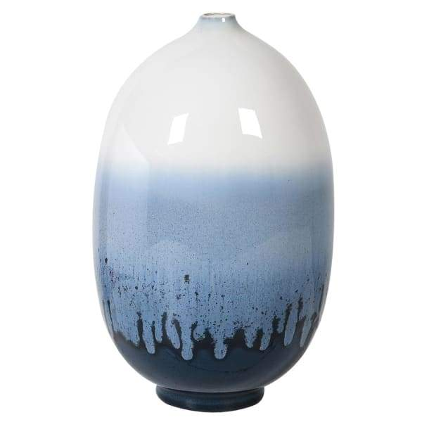 Small Blue and White Round Vase Homeware Coach House