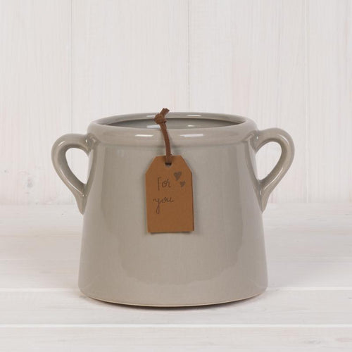 Small Grey Pot with Tag Homeware Teal