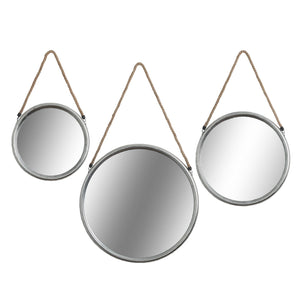 Small Round Silver Mirror with Rope Homeware Hill Interiors