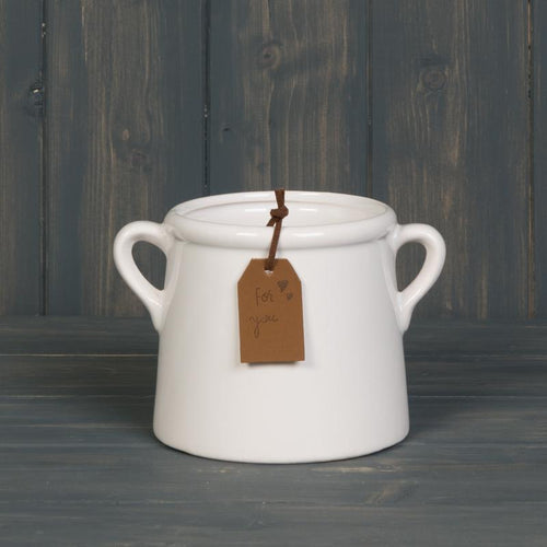 Small White Pot with Tag Homeware Teal