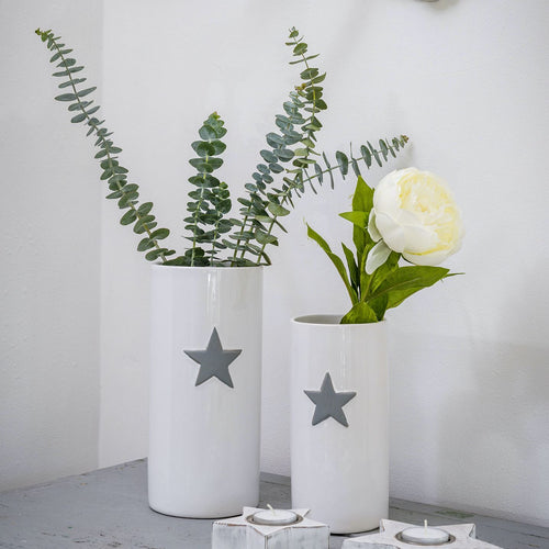 Small White Vase with Grey Star Homeware Retreat