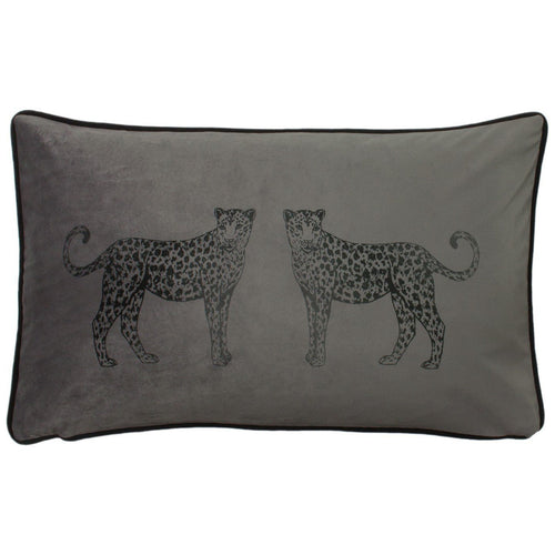 Steel Grey Leopard Cushion Soft Furnishing Riva Home
