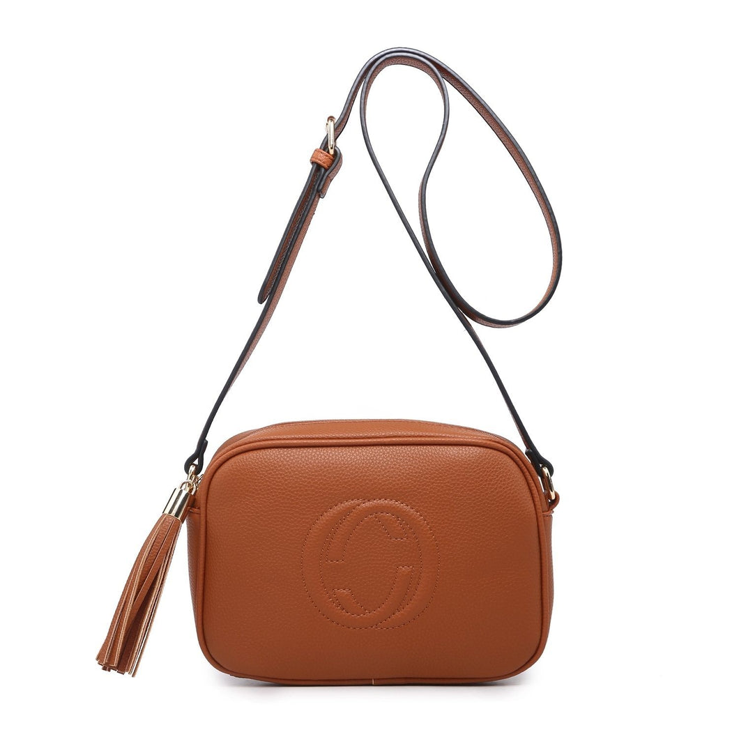 Tan CC Monogram Leather Look Crossbody Accessories House of Milan