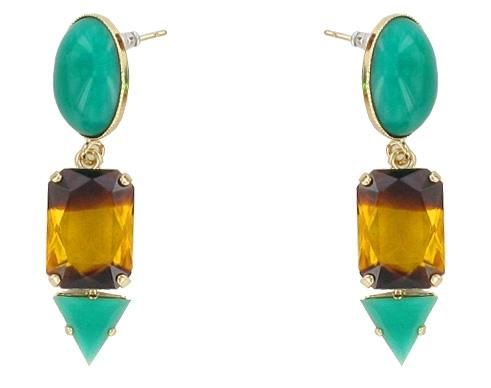 Teal and Ombre Tiki Jungle Earrings Jewellery Philippe Ferrandis