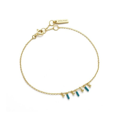 Turquoise and Gold Dotted Drop Bracelet Jewellery Velvet and Parade