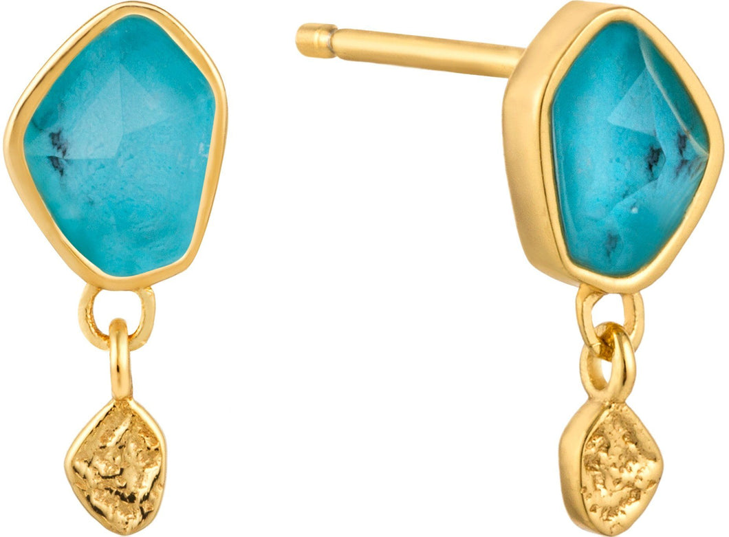 Turquoise Drop Gold Earrings Jewellery Ania Haie
