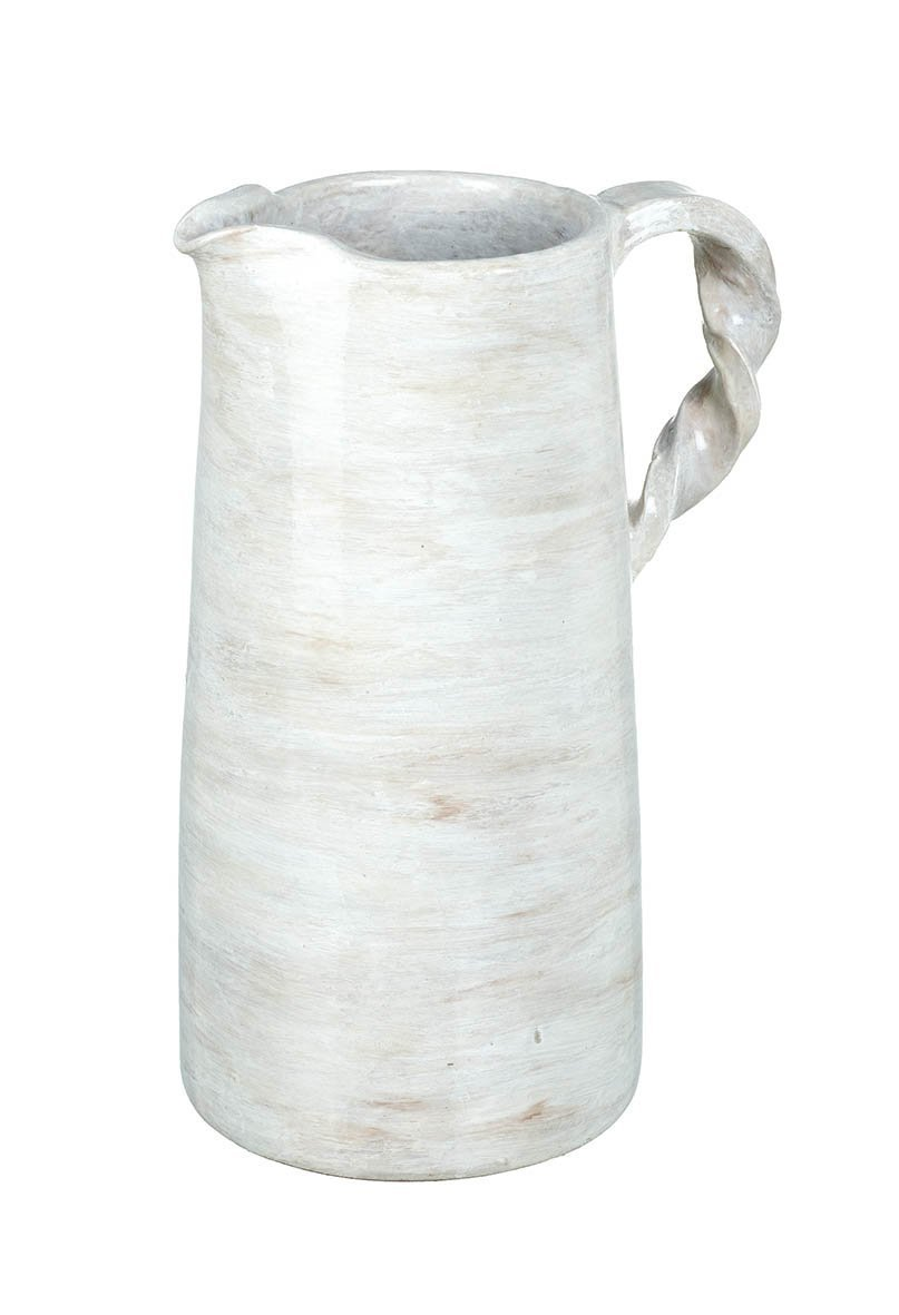 Twisted Handle Distressed White Pitcher Homeware Parlane