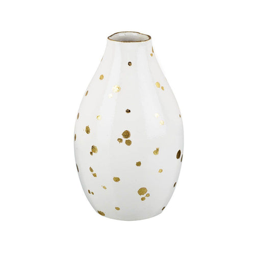 White and Gold Fleck Vase Homeware Parlane