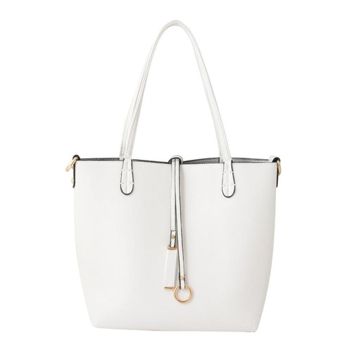 White and Silver 2 in 1 Handbag Accessories Kris Ana