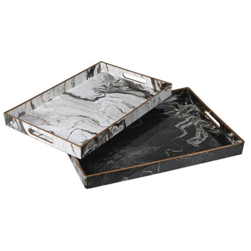 White Marble Effect Tray Homeware Coach House