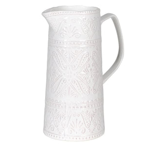 White Pattern Ceramic Jug Homeware Coach House