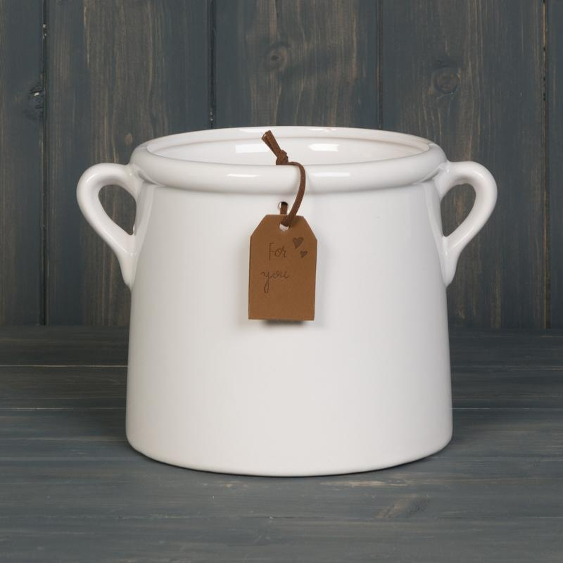 White Pot with Tag Homeware Teal