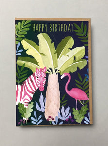 Zebra and Flamingo Birthday Card Stationery Earlybird