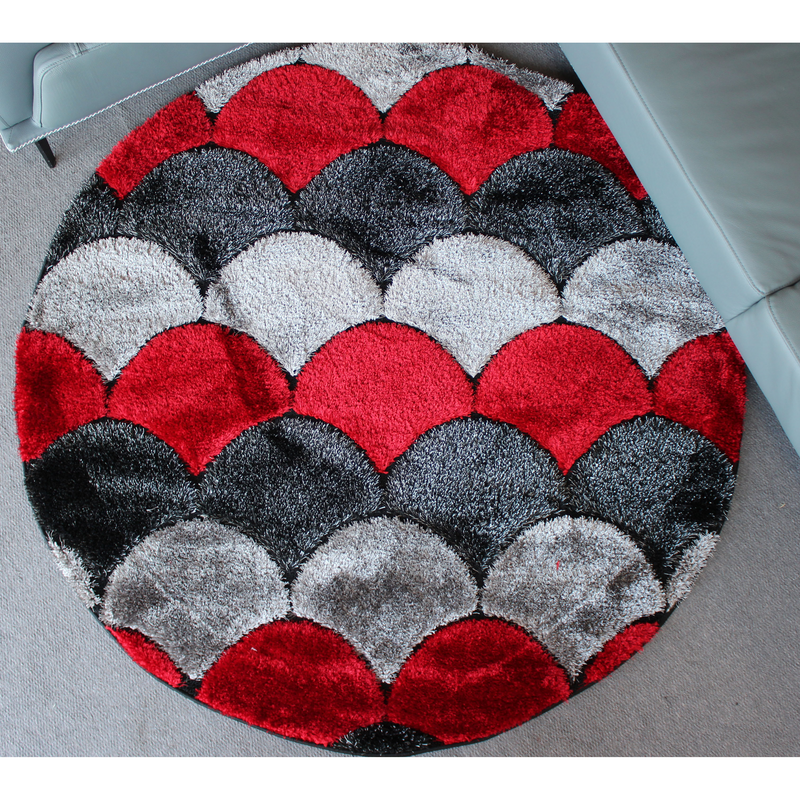 A ROUND RUG | ORION SHAGGY GR050 BLACK RED | Quality Rugs and Furniture