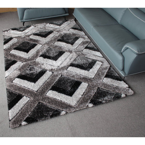 A RUG | ORION SHAGGY B699 D.GREY BLACK | Quality Rugs and Furniture
