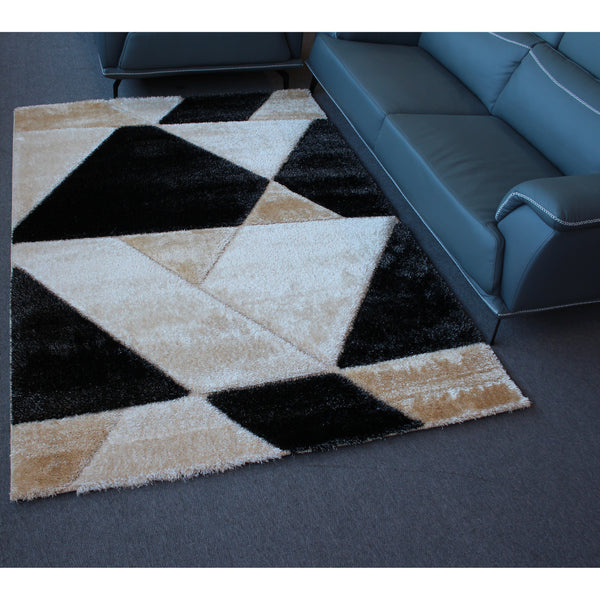 A RUG | ORION SHAGGY GR051 BLACK D.BEIGE | Quality Rugs and Furniture