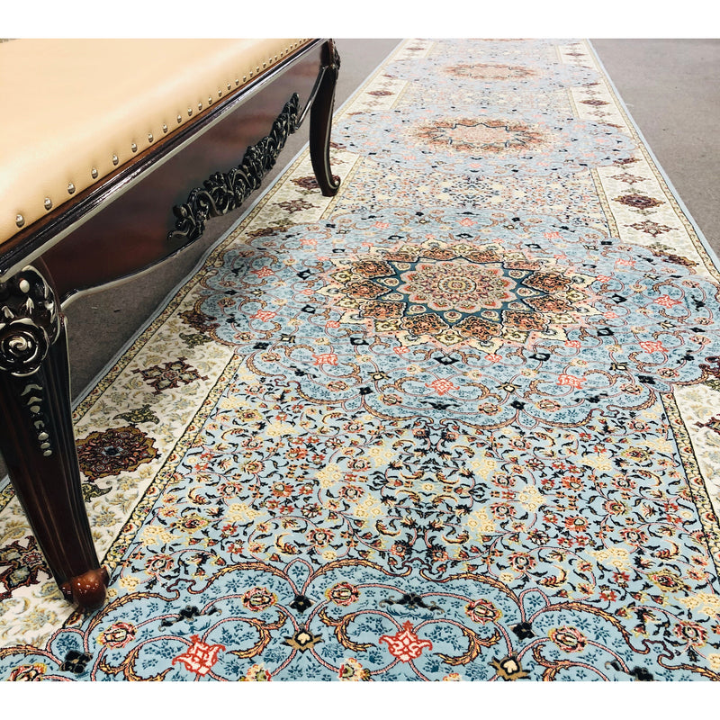 A HALLWAY RUNNERS | ZARTOSHT HALLWAY RUNNER 4180 BLUE | Quality Rugs and Furniture