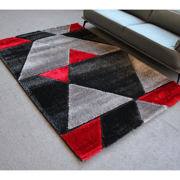 A RUG | ORION SHAGGY B695 BLACK RED | Quality Rugs and Furniture