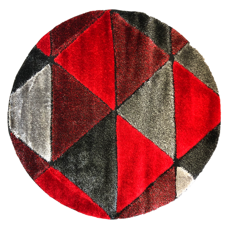 A ROUND RUG | ORION SHAGGY B695 RED BLACK | Quality Rugs and Furniture