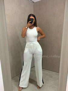 LACEY WHITE HIGH WAISTED TROUSERS