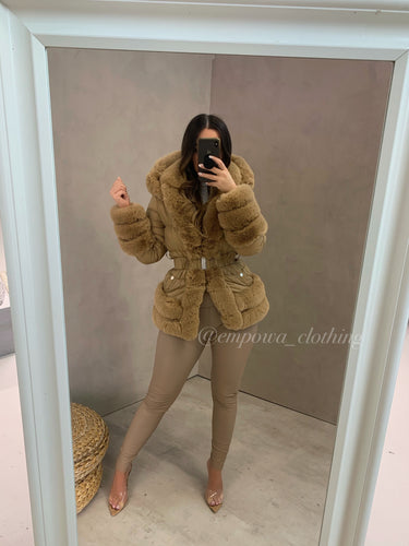 RENAY FAUX FUR TRIM PUFFER JACKET