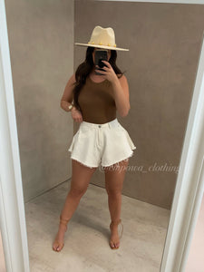 ELLA CREAM DENIM SHORTS