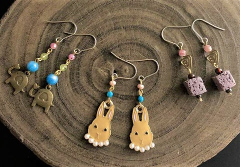 Earrings 28:  Bunnies and friends