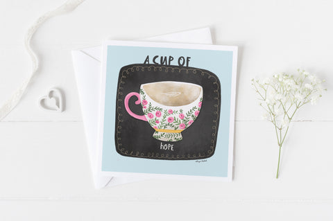 A Cup of Hope - Greeting Cards -  5x5 Inch Square