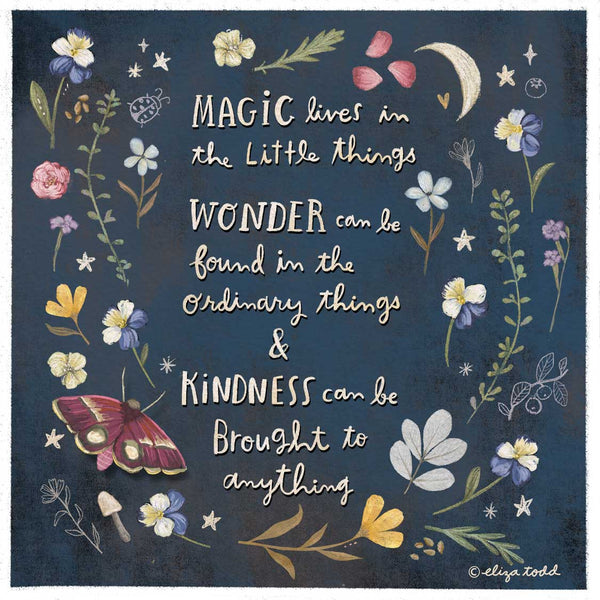 Magic, Wonder and Kindness - Greeting Cards - 5x5 Inch Square