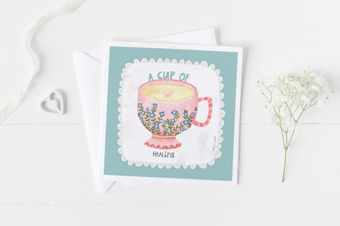 A Cup of Healing - Greeting Cards -  5x5 Inch Square