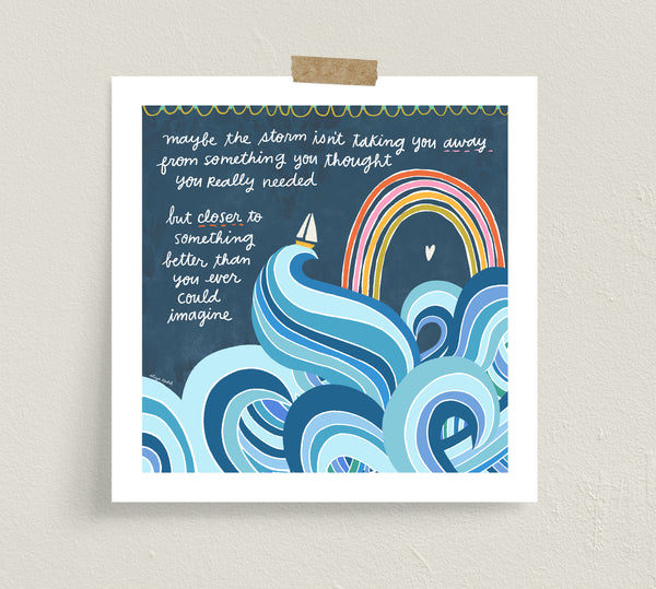 Fine art print by Eliza Todd featuring a stormy sea and a rainbow - APeaceofWerk.com