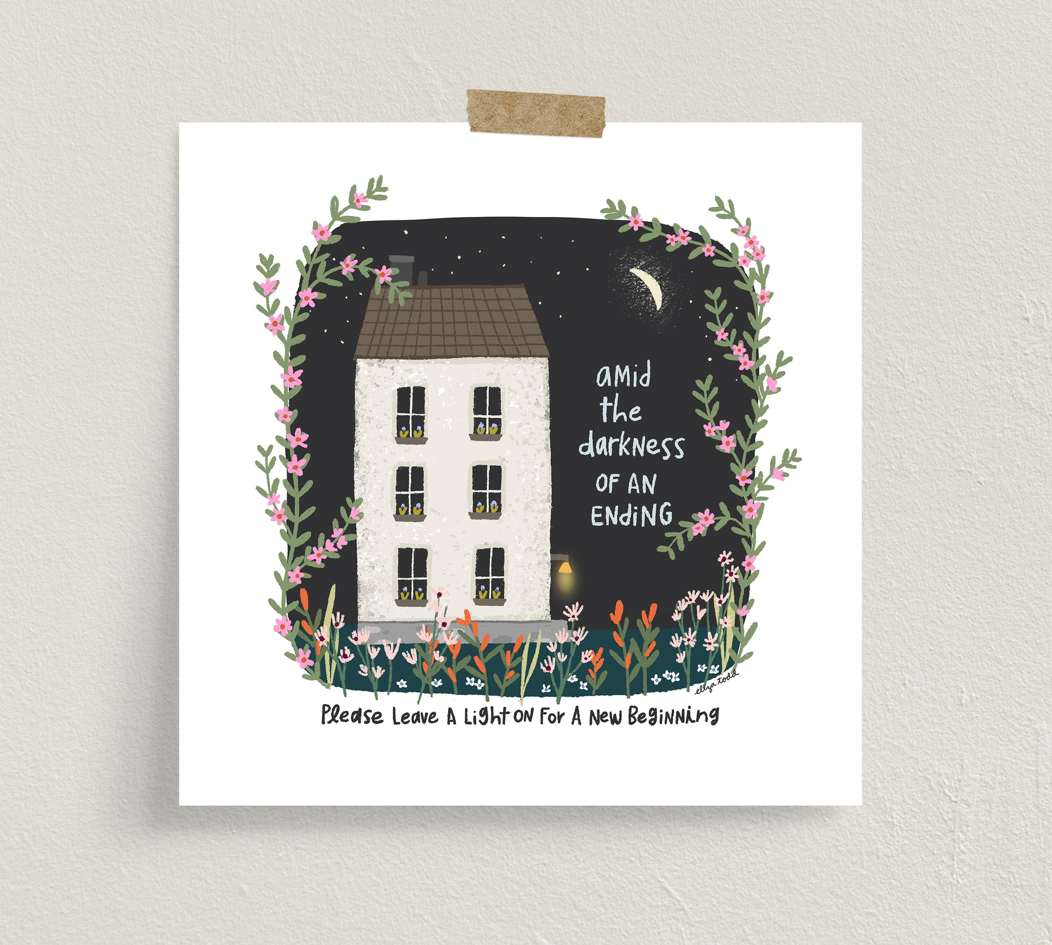 "Fine art prints by Eliza Todd featuring a white house at night with the front porch light on saying ""Amid the darkness of an ending, please leave a light on for a new beginning."" - APeaceofWerk.com"