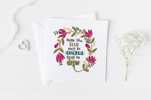 Open to Grow - Greeting Cards -  5x5 Inch Square