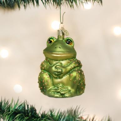 Sitting Frog Ornament on Tree