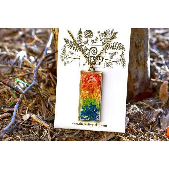 Rainbow Queen Anne's Lace Necklace 1