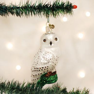 Great White Owl Ornament on Tree