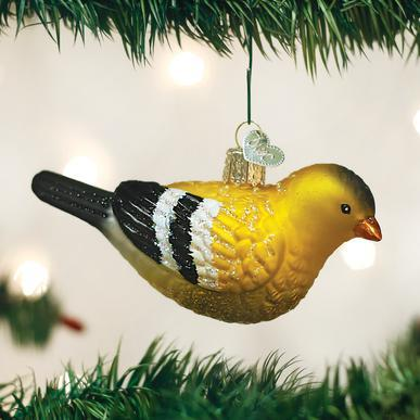 American Goldfinch Ornament on Tree