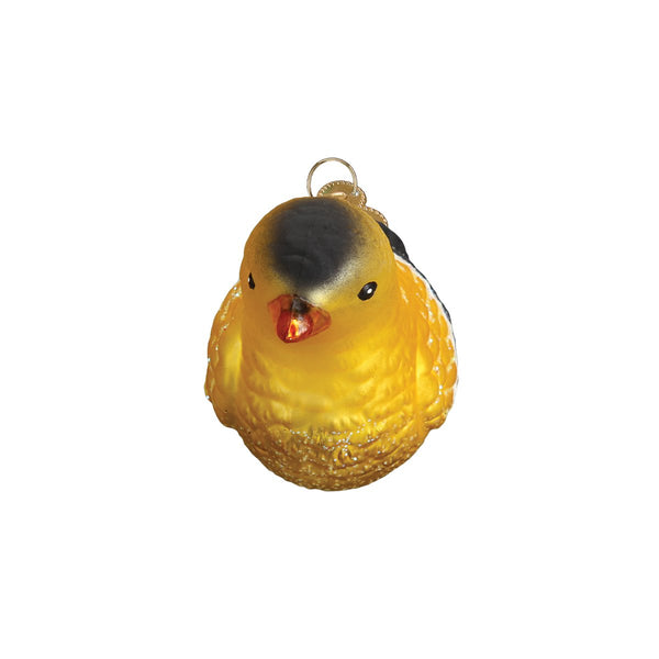 American Goldfinch Ornament Front Side View