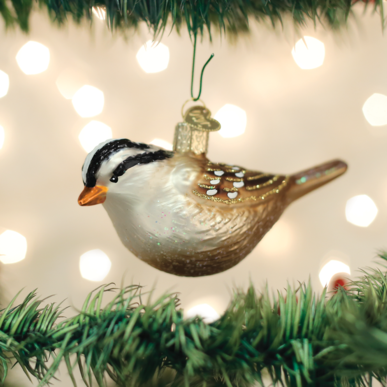 White Crowned Sparrow Ornament on Tree