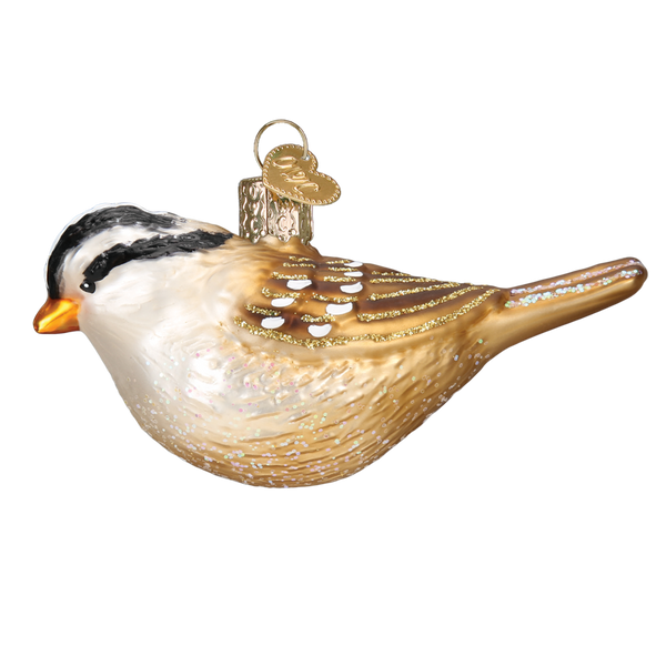 White Crowned Sparrow Ornament Left Side View