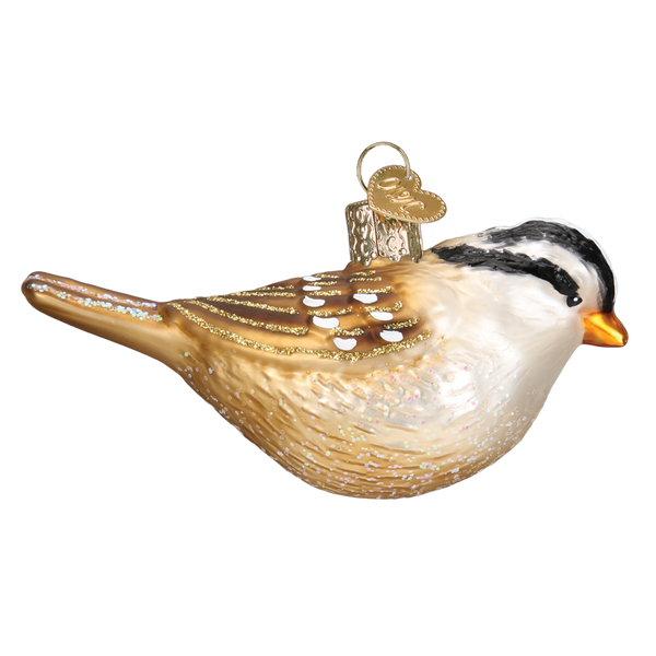 White Crowned Sparrow Ornament Right Side View