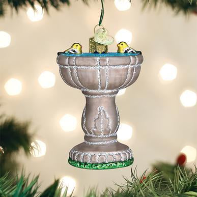 Bird Bath Ornament on Tree