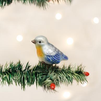 Baby Bluebird Ornament on Tree