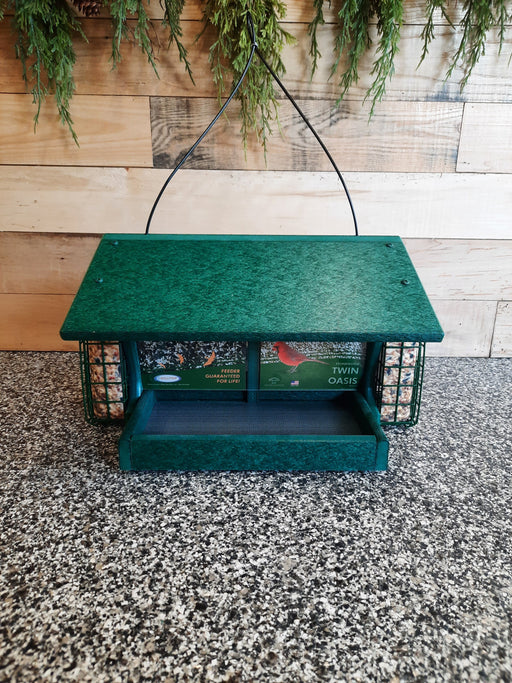 Twin Oasis with Suet Cages Recycled Bird Feeder